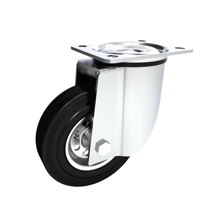 Comfort Castors Industrial-Black-Rubber-Castor-Swivel Industrial Black Rubber Castor (INDUSTRIAL BLACK RUBBER CASTOR)